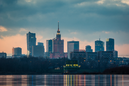 Panorama of downtown Warsaw city and Vistula river, Poland
