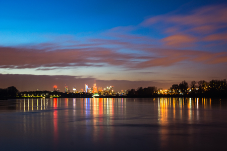 Panorama of downtown Warsaw city and Vistula river, Poland