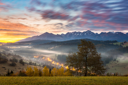 Tatra mountains at autumn from village Gliczarow Gorny, Poland