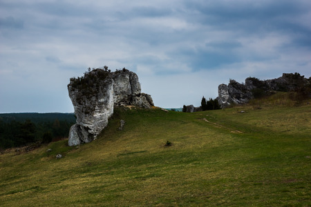 Rocks at the route Eagles Nests between Cracow and Czestochowa in Poland Stock Photo