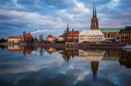 Tumski island and Odra river in Wroclaw, Silesia, Poland Stock Photo