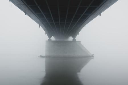 Bridge in the fog in Warsaw, Poland