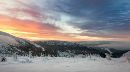 Beautiful sunrise at winter in the Giant Mountains, Karkonosze, Poland