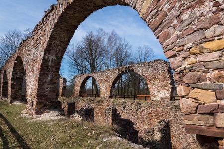 Ruins of a blast furnace plant in Bobrza, Swietokrzyskie, Poland Banco de Imagens