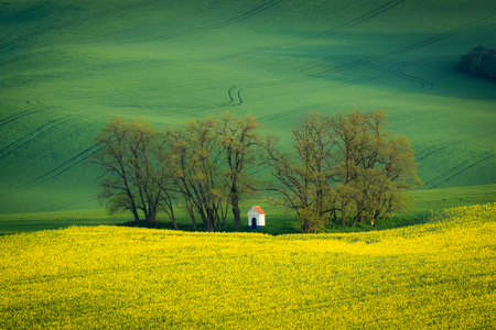 Chapel of St. Barbara at spring in Moravia, Czech Republic Stock Photo