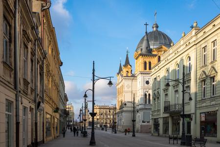 Church at Piotrkowska street in Lodz city, Lodzkie, Poland