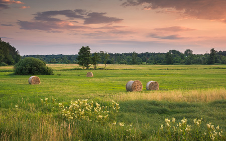 Sunset over the meadow and bales of straw