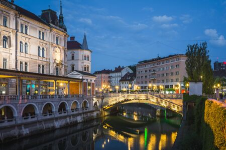 Triple bridge over the Lublanica river in Ljublana, Slovenia