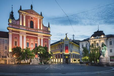Church of the Annunciation on the old town in Ljubljana, Slovenia