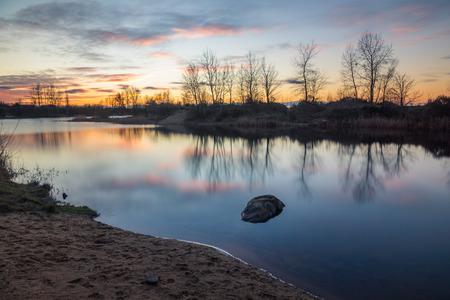 Sunset over the pond in Puchaly, Raszyn, Poland Stok Fotoğraf