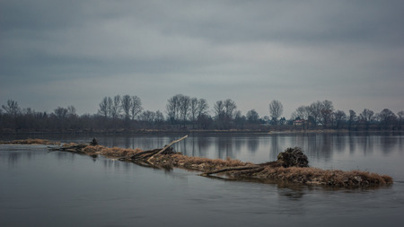 Vistula river at cloudy day somewhere in Poland Stok Fotoğraf
