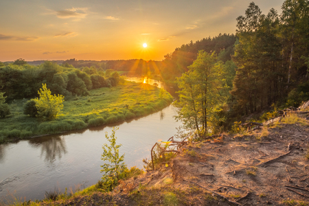 Sunset over the Pilica river near Sulejow, Lodzkie, Poland