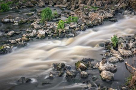 Water cascades on Jeziorka river near Konstancin-Jeziorna, Masovia, Poland