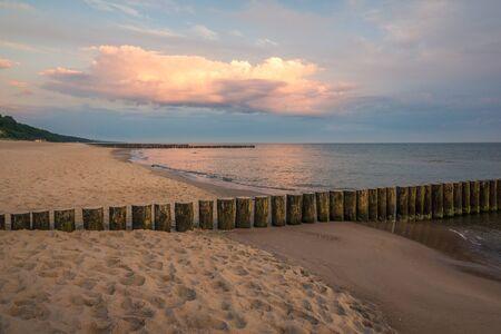 Sunrise over the Baltic sea in Trzesacz, Poland