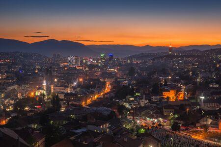 Night panorama of the city of Sarajevo, Bosnia and Herzegovina Stock Photo