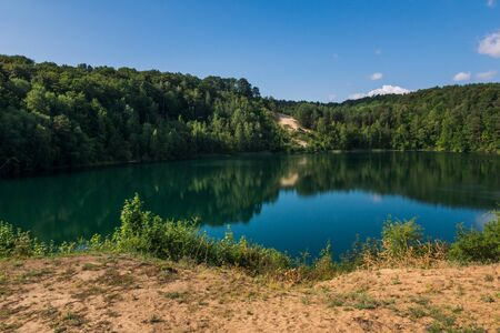 Turquoise lake in Wolinski National Park, Wapnica, Poland