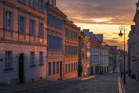 Mostowa street in old town in Warsaw during the sunrise, Poland