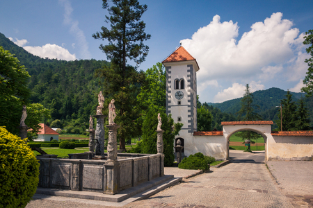 Neptune Fountain in Polhov Gradec, Upper Carniola, Slovenia Editorial