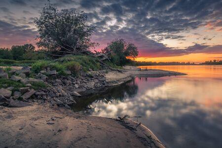 Sunset over the Vistula river somewhere in Masovia, Poland Reklamní fotografie