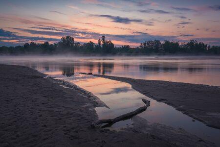 Dawn on the Vistula River somewhere in Masovia, Poland