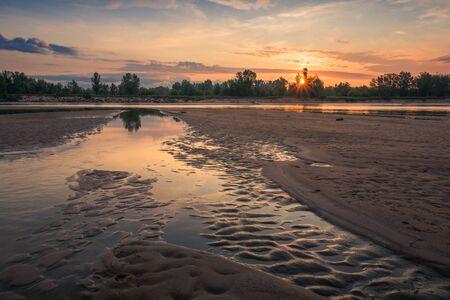 Sunrise on the Vistula River somewhere in Masovia, Poland