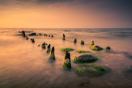 Sunset over the Baltic sea near Dziwnow, Poland