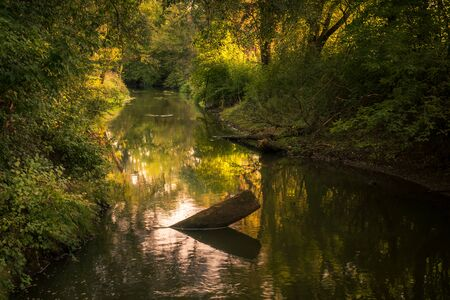 Jeziorka River during a beautiful morning in Zalesie Dolne, Piaseczno, Poland Stock Photo
