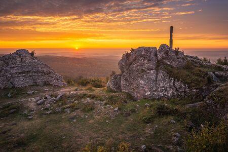 Sunrise from mount Zborow - Rocky hill in the Jura Krakowsko-Czestochowska, Silesia, Poland Stock Photo - 130068146