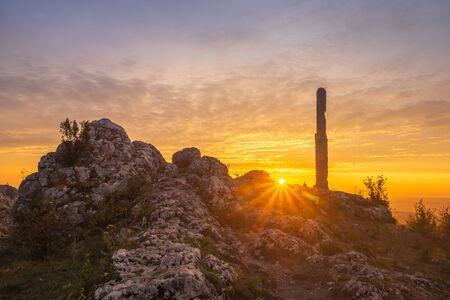 Sunrise from mount Zborow - Rocky hill in the Jura Krakowsko-Czestochowska, Silesia, Poland Stock Photo - 130068150
