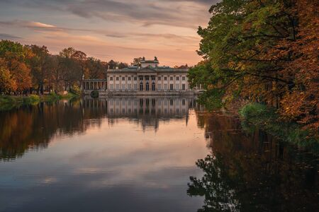 Royal Palace on the Water in Lazienki Park at autumn in Warsaw, Poland
