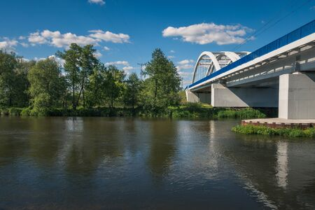 Bridge over the Pilica river at beautiful sunny day near Gapinin, Lodzkie, Poland