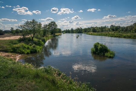 Pilica river at beautiful sunny day near Gapinin, Lodzkie, Poland Archivio Fotografico