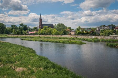 Church of Saint Florian and Pilica river in Sulejow, Lodzkie, Poland