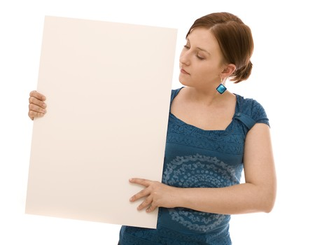 Woman with white banner photo