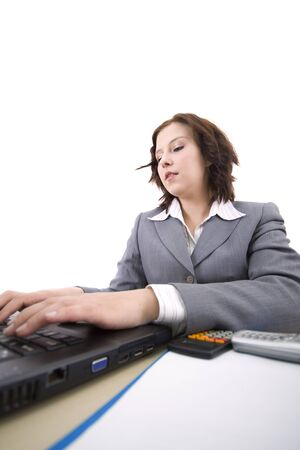 Woman with laptop on a white background Stock Photo - 4325539