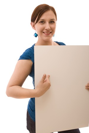Woman with white banner Stock Photo - 4407519