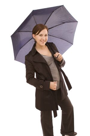 Woman with umbrella on a white background photo