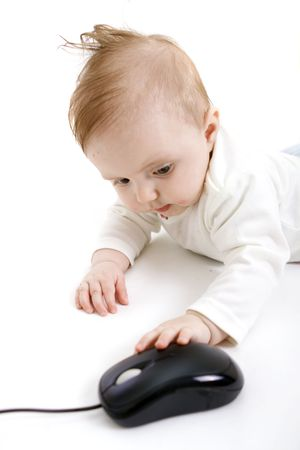 Baby playing on white background photo