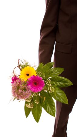 Man with flowers on white background Stock Photo - 4631954
