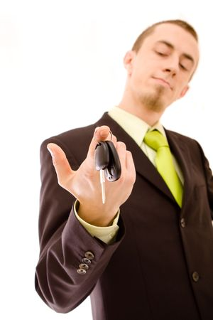 man holding car keys on white Stock Photo - 4673673