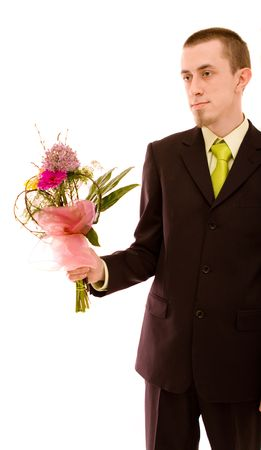 Man with flowers on white background Stock Photo - 4673753