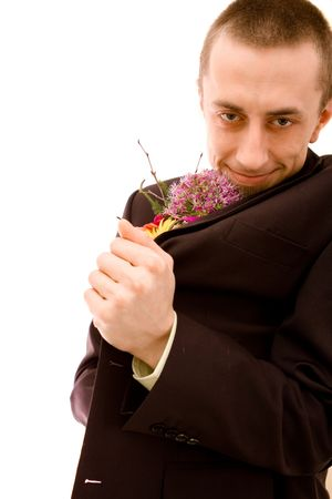Man with flowers on white background Stock Photo - 4673687