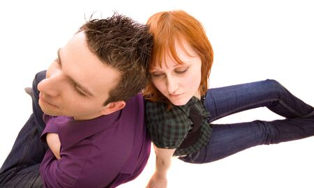 Fighting couple on a white background Stock Photo - 4673903