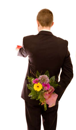 Man with flowers on white background Stock Photo - 4729814