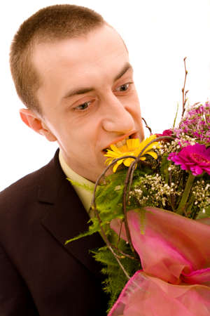 Man with flowers on white background Stock Photo - 4729852