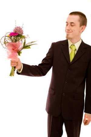 Man with flowers on white background Stock Photo - 4729869