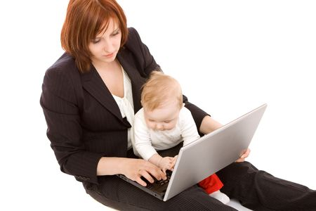 Businesswoman with baby on white photo
