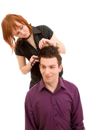 Cutting hair on a white background Stock Photo - 4729850