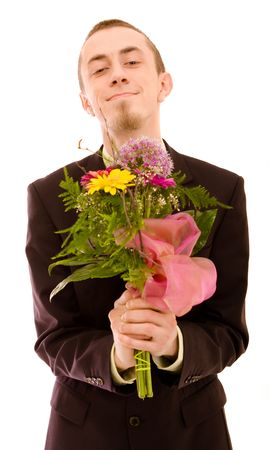 Man with flowers on white background photo