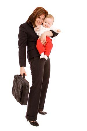 madre trabajadora: Businesswoman con beb� en blanco Foto de archivo